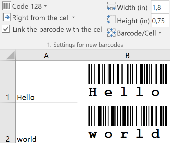 Barcode Add-In for Excel - ActiveBarcode