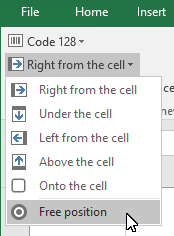 Excel - Use the barcode Add-In