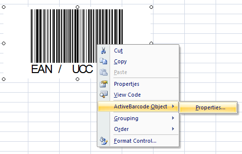 Barcodes in Excel 2007 spreadsheets - ActiveBarcode