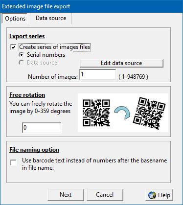 Serial export barcodes as image files - ActiveBarcode