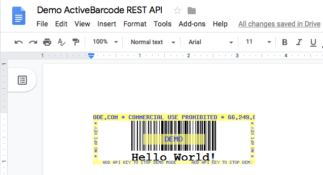 This screenshot shows the resulting barcode in Google Docs when inserting an image with the URL shown above.
