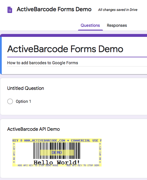 This screenshot shows the resulting barcode in Google Forms when inserting an image with the URL shown above.